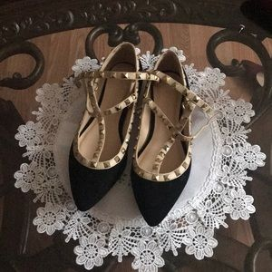 Sexy Black flats with cream and gold studs.